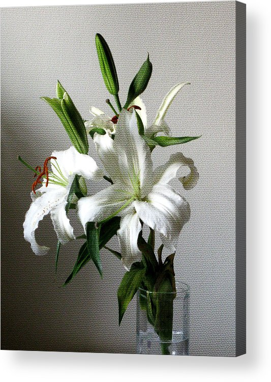 White Flower Acrylic Print featuring the digital art Lily Flower by Christopher Shellhammer