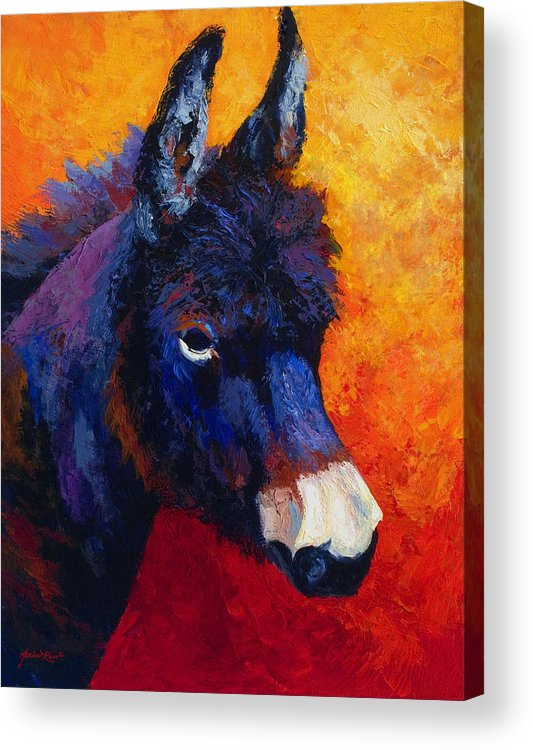 Burro Acrylic Print featuring the painting Little Jack - Burro by Marion Rose