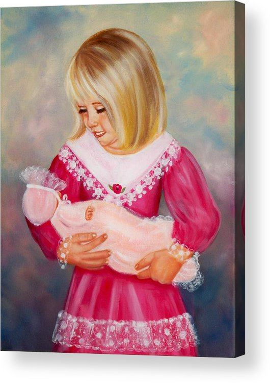 Child Acrylic Print featuring the painting Little Mommy by Joni McPherson