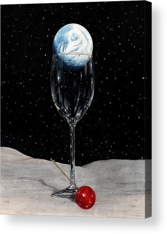 Moon Earth Space Cocktail Glass Art Bruce Lennon Art Acrylic Print featuring the painting Lunar Cocktail by Bruce Lennon