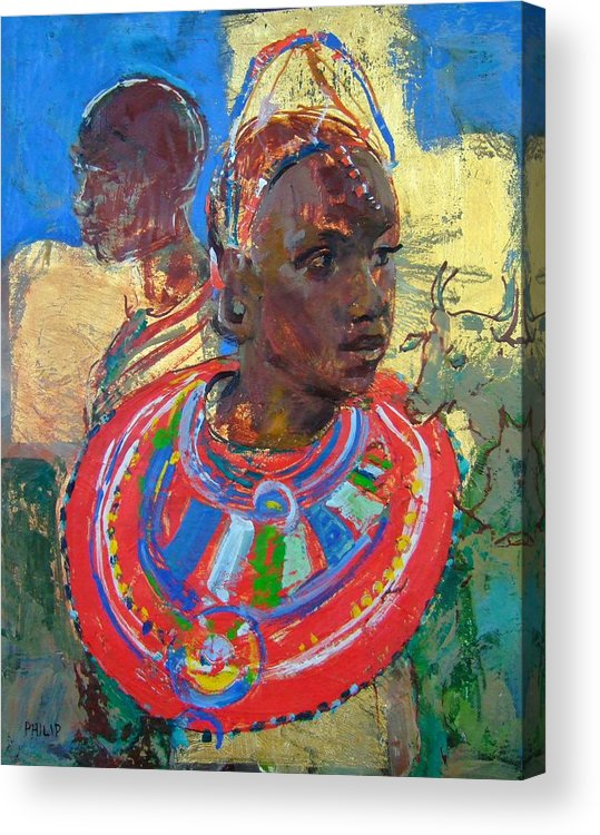 Africa Acrylic Print featuring the painting Maasai Daydream by Michelle Philip