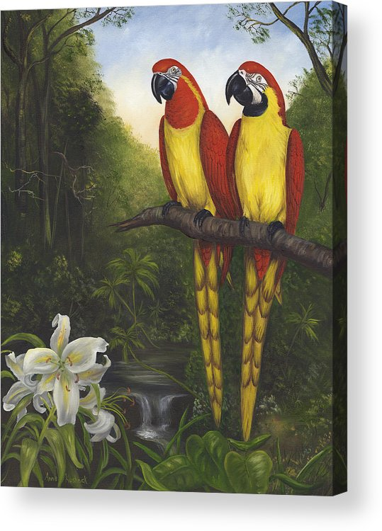 Landscape Acrylic Print featuring the painting Macaws And Lillies by Anne Kushnick