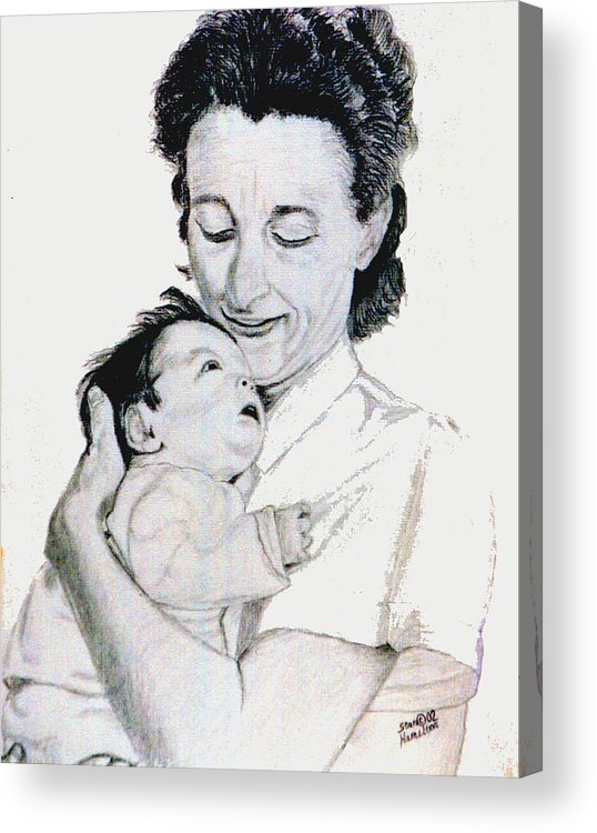 Madona Acrylic Print featuring the drawing Madona And Baby by Stan Hamilton