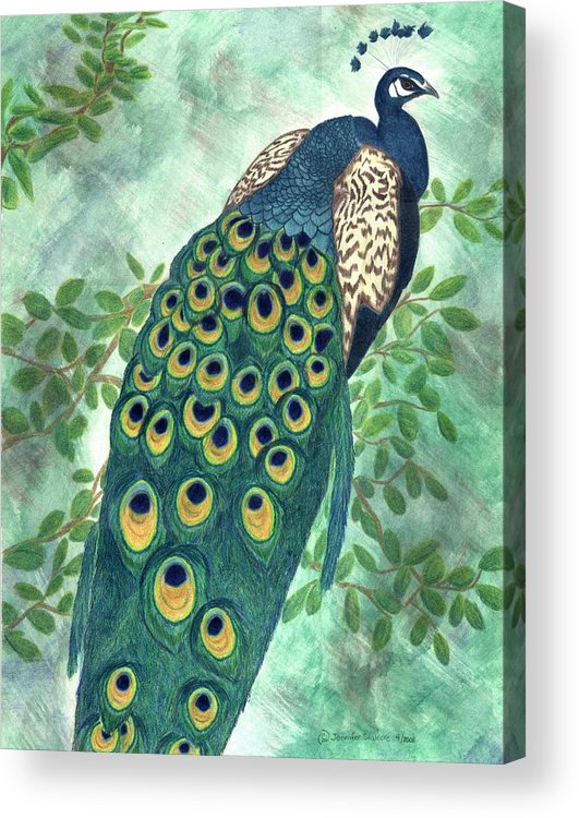 Peacock Acrylic Print featuring the drawing Majestic by Jennifer Skalecke