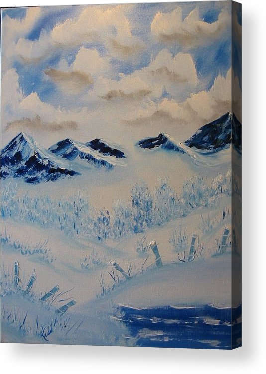 Blue Acrylic Print featuring the painting Many Valleys by Laurie Kidd