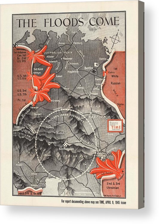 Map Of Germany To Print.Map Of Germany World War 2 Military Map Time Magazine Historic Map Acrylic Print