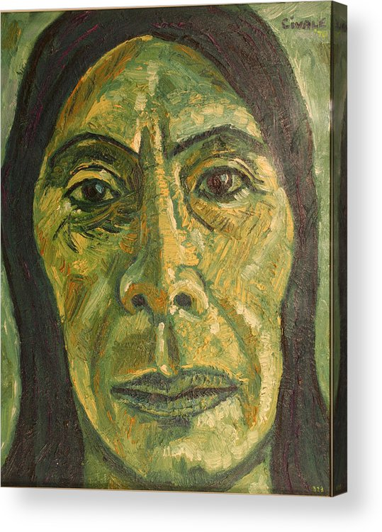 Acrylic Print featuring the painting Mexican Woman by Biagio Civale