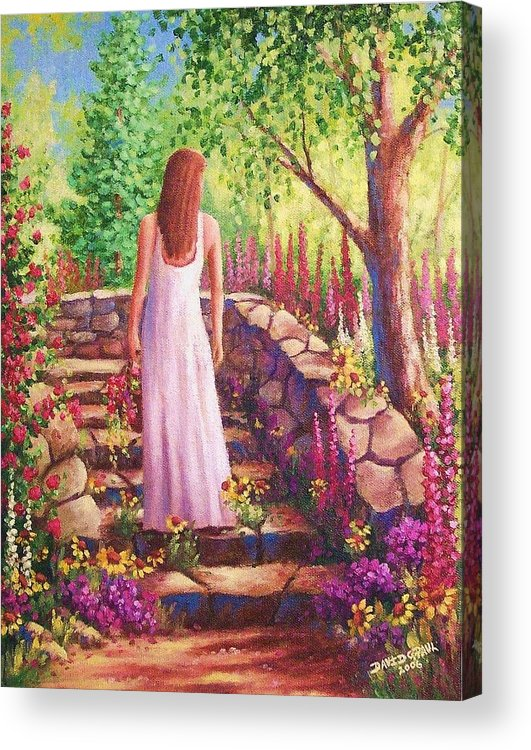 Woman Acrylic Print featuring the painting Morning In Her Garden by David G Paul