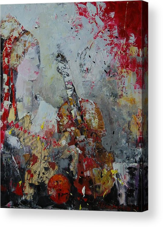 Figurative Acrylic Print featuring the painting Musicians Break by Sari Haapaniemi