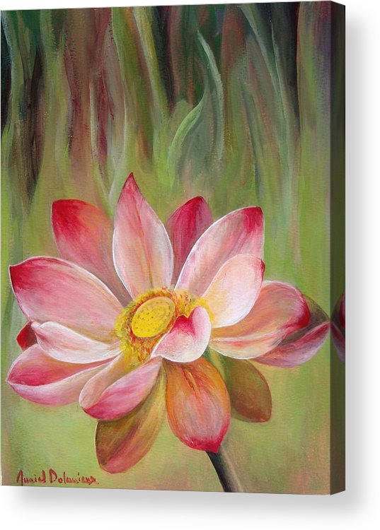 Flower Acrylic Print featuring the painting Nenuphar by Muriel Dolemieux