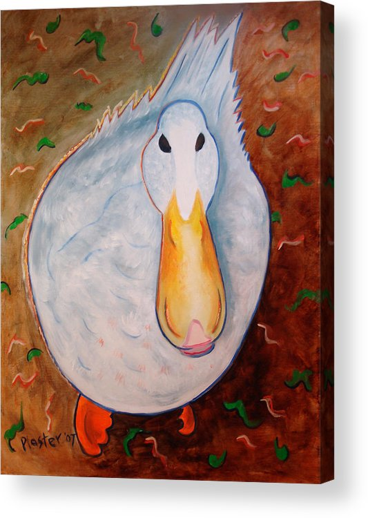 Animals Acrylic Print featuring the painting Neon Duck by Scott Plaster