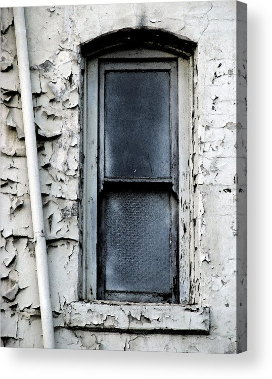 City Window White Glass Pipe Blue Blu Texture Urban Acrylic Print featuring the photograph No View - Riverside Window by Lawrence Costales