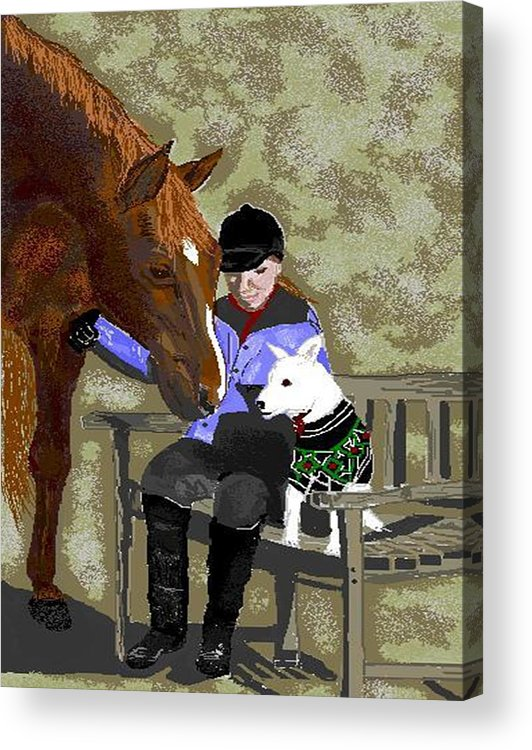 Horses Acrylic Print featuring the digital art Nose To Nose by Carole Boyd