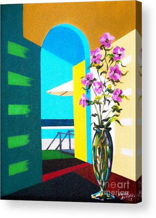 Still Life Acrylic Print featuring the painting Ocean View by Sinisa Saratlic