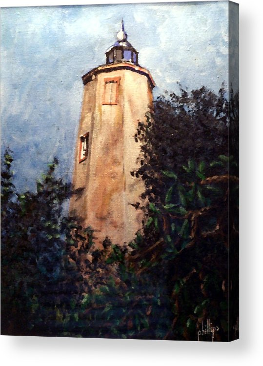 Lighthouse Acrylic Print featuring the painting Old Baldy by Jim Phillips