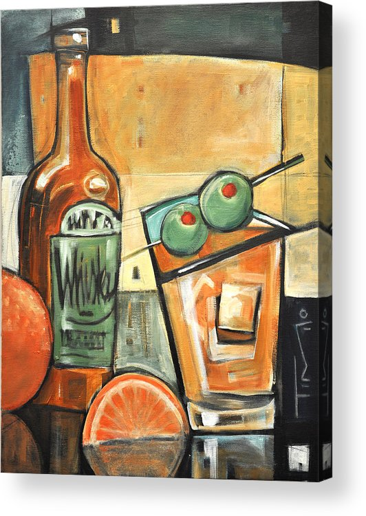 Olives Acrylic Print featuring the painting Old Fashioned Sweet With Olives by Tim Nyberg