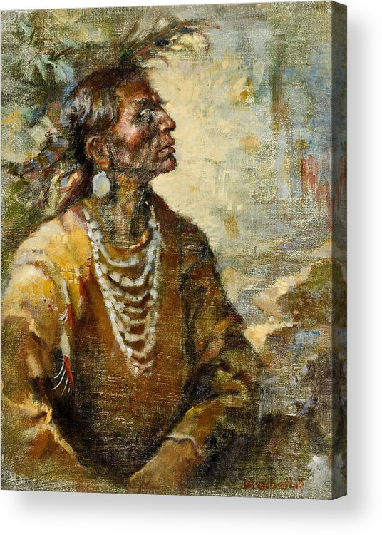 Native American Acrylic Print featuring the painting One With The Earth by Ellen Dreibelbis