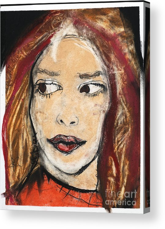 Figure Acrylic Print featuring the drawing Orange Sweater by Chrissa Arazny- Nordquist