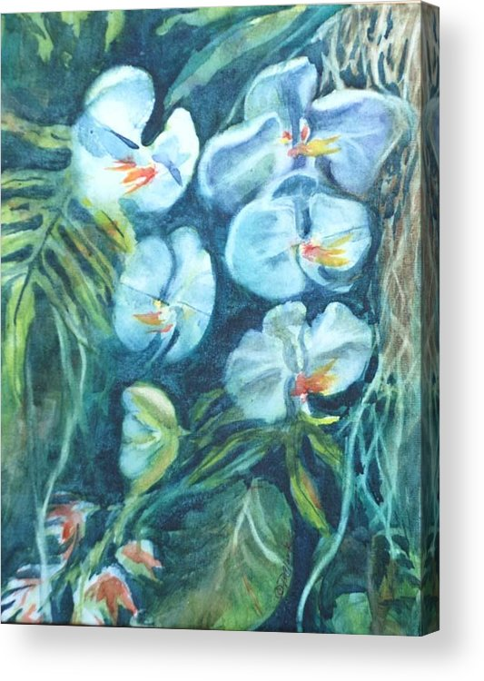 Floral Acrylic Print featuring the painting Orchids by Donna Pierce-Clark
