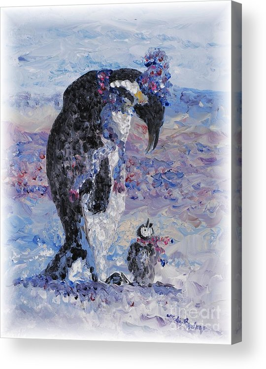 Penguins Winter Snow Blue Purple White Acrylic Print featuring the painting Penguin Love by Nadine Rippelmeyer