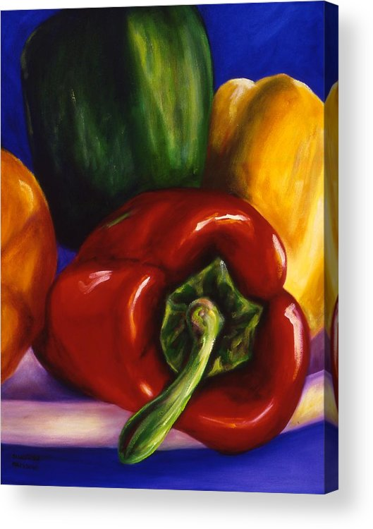 Still Life Acrylic Print featuring the painting Peppers On Peppers by Shannon Grissom