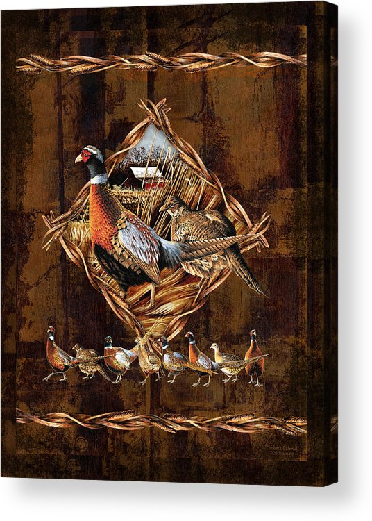 Wildlife Acrylic Print featuring the painting Pheasant Lodge by JQ Licensing