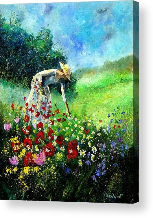 Poppies Acrylic Print featuring the painting Picking Flower by Pol Ledent