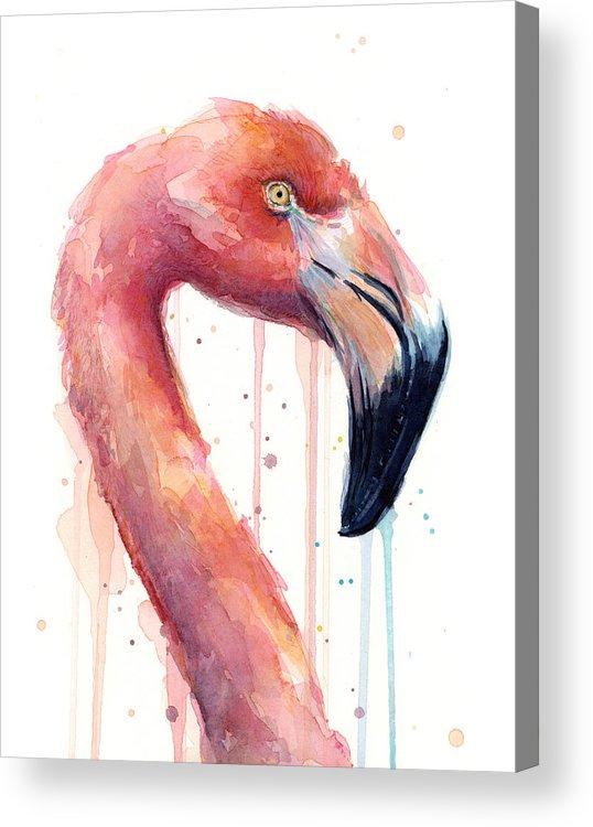 Watercolor Flamingo Acrylic Print featuring the painting Pink Flamingo - Facing Right by Olga Shvartsur