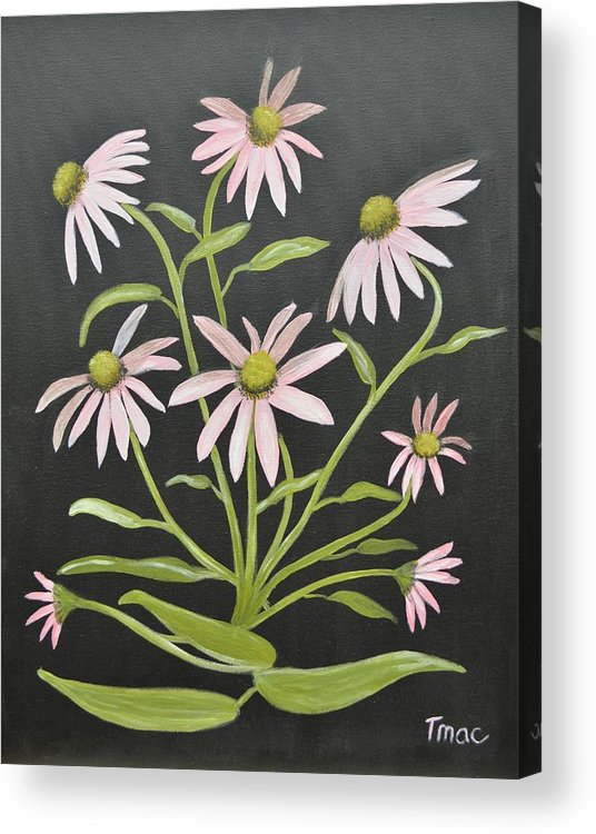Pink Acrylic Print featuring the painting Pink Flowers by Teresa French McCarthy