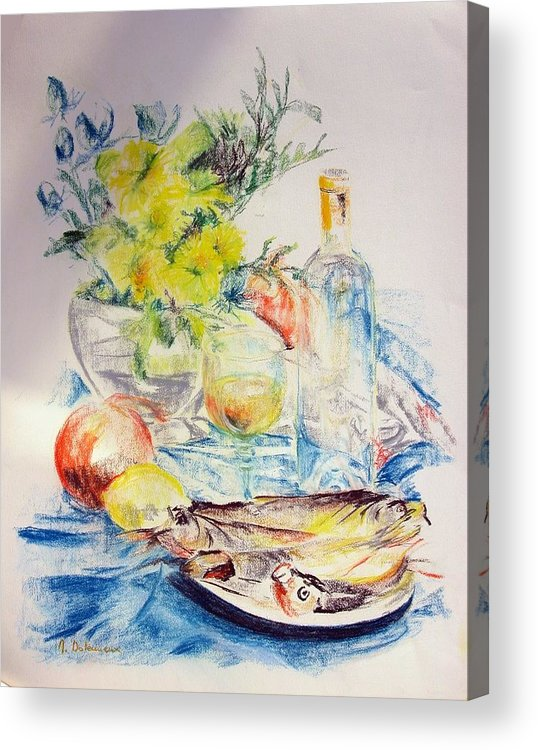 Still Life Acrylic Print featuring the drawing Poissons by Muriel Dolemieux