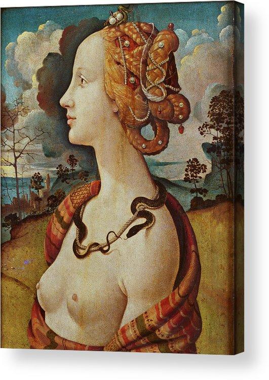 Female Acrylic Print featuring the painting Portrait De Femme Dit De Simonetta Vespucci by Piero di Cosimo