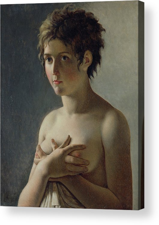 Bust; Breasts; Female; Semi-nude; Short Hair; Nude; Jeune Fille En Buste; Sensuality; Mystery Acrylic Print featuring the painting Portrait Of A Young Girl by Baron Pierre Narcisse Guerin