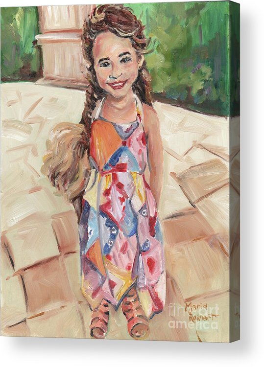 Oil Painting Acrylic Print featuring the painting Portrait Painting by Maria Reichert