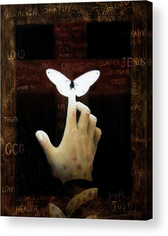 Hand Acrylic Print featuring the painting Power Over Death by Ulysses Albert III