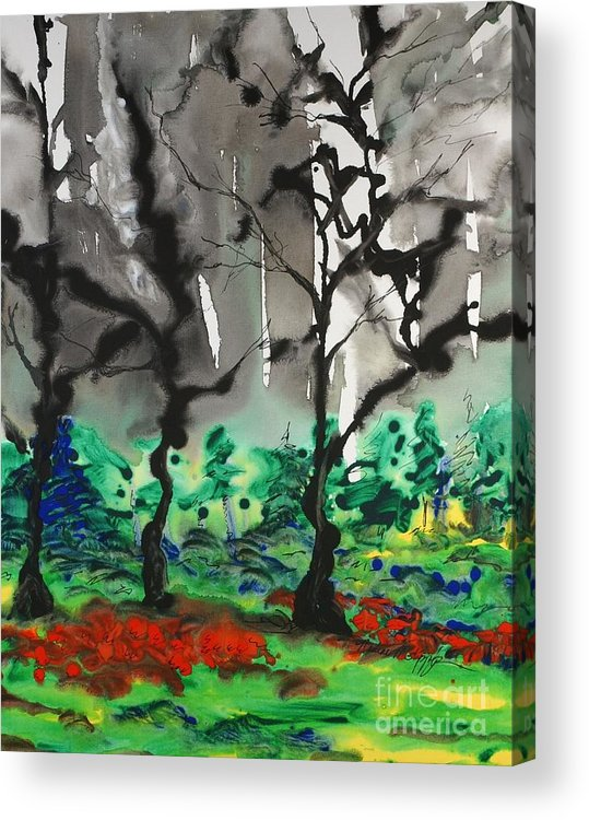 Forest Acrylic Print featuring the painting Primary Forest by Nadine Rippelmeyer