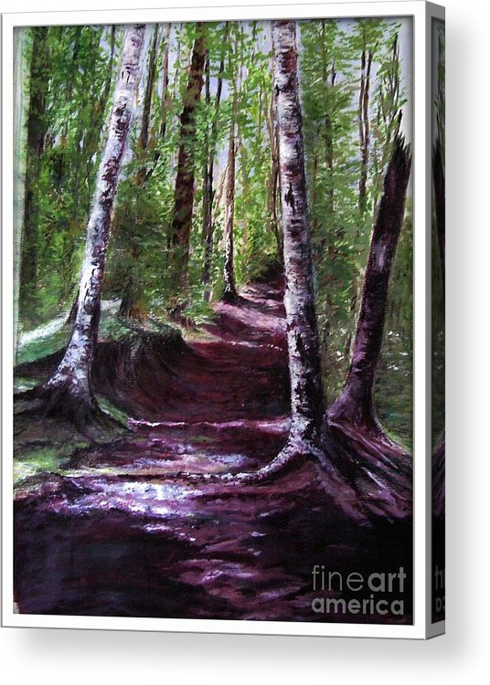Painting Acrylic Print featuring the painting Purple Walk by Sibby S