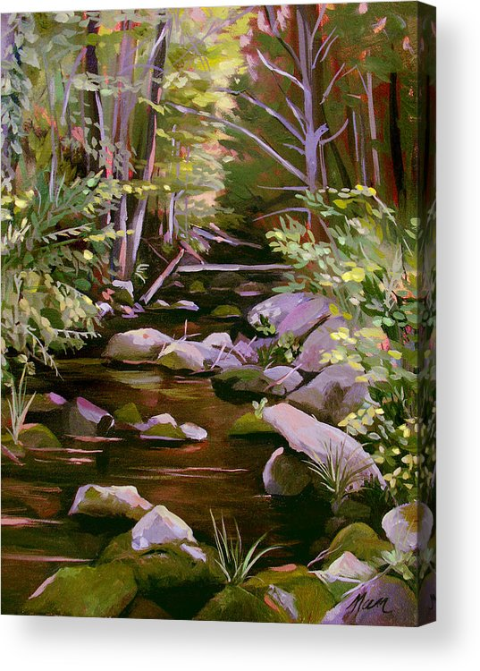 Peoples State Forest Acrylic Print featuring the painting Quiet Brook by Nancy Griswold