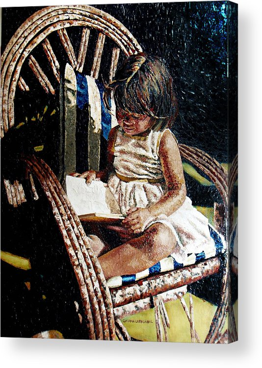Book Acrylic Print featuring the painting Reading Time by Claudia Lardizabal