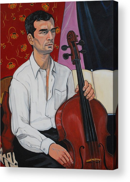 Figure Figurative Portrait Face Male Model Musician Cello Seated Head Torso Hands Chair Draperies Music White Shirt Black Hair Acrylic Print featuring the painting Ricardo With Cello by Diana Blackwell