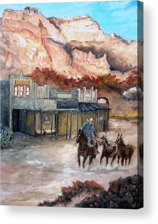 West Acrylic Print featuring the painting Round-up by CJ Rider