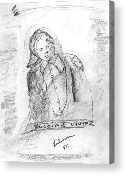 Person Signafying Season Acrylic Print featuring the drawing Russian Winter by Alfred P Verhoeven