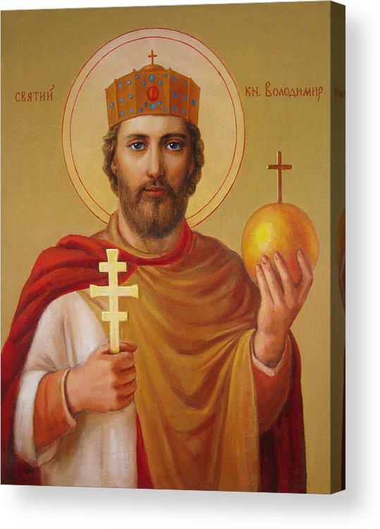 Saint Acrylic Print featuring the painting Saint Volodymyr by Svitozar Nenyuk
