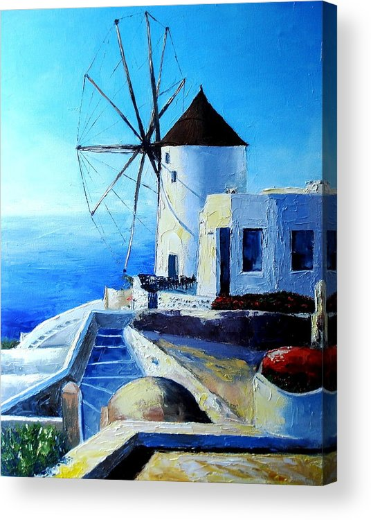 Landscape Acrylic Print featuring the painting Santorini by Claudia Mandl