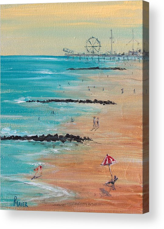 Beach Acrylic Print featuring the painting Seaside by Pete Maier