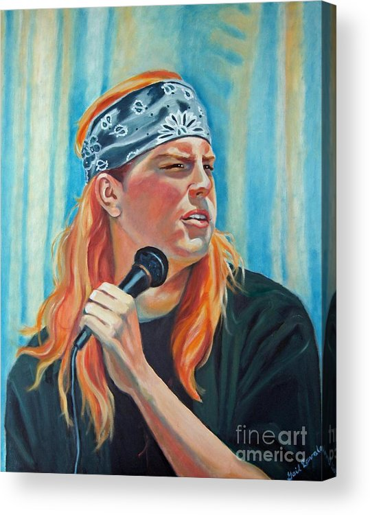 Portrait Acrylic Print featuring the painting Singer For The Band by Gail Zavala