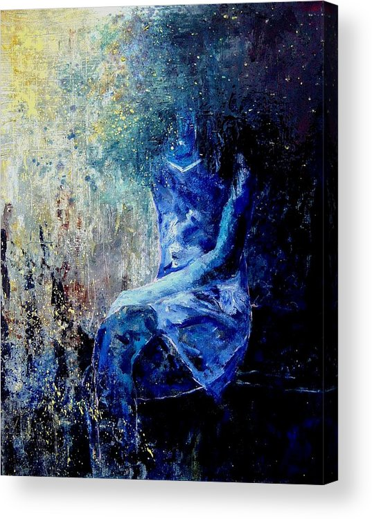 Woman Girl Fashion Acrylic Print featuring the painting Sitting Young Girl by Pol Ledent