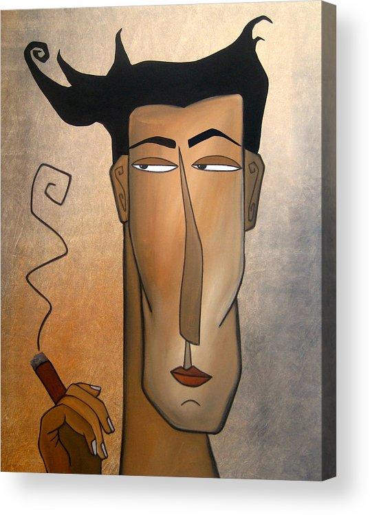 Fidostudio Acrylic Print featuring the painting Smoke Break by Tom Fedro - Fidostudio
