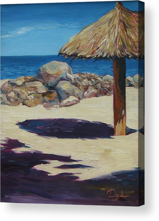 Ocean Acrylic Print featuring the painting Solo Palapa by Karen Doyle
