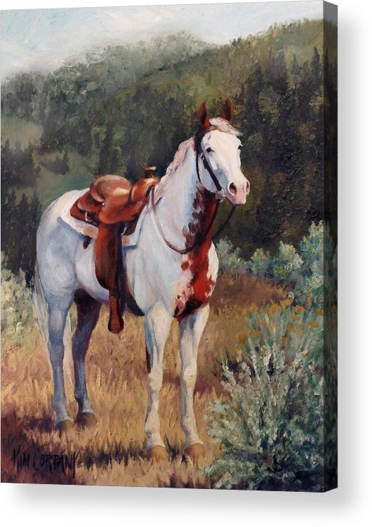 Paint Acrylic Print featuring the painting Sophie Flinders Paint Mare Horse Portrait Painting by Kim Corpany