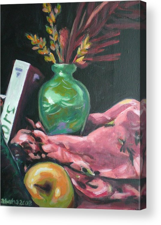 Apple Acrylic Print featuring the painting Still Life With Apple Book And Vase by Aleksandra Buha